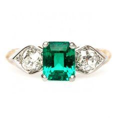 vintage emerald diamond edwardian engagement ring