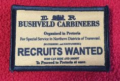 Breaker Morant Bushveld Carbineers Morale Patch Patch, Morale, Patch, Velcro, Breaker Morant, Bushveld Carbineers, Bushveldt, Movie, Rule 303, British, Soldier, Gentleman in Khaki, Patch, Velcro, Redcoat, Martini Henry, Lee Enfield, Boer War, Zulu, Morale Patch