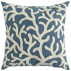 "Embroidered Coral Pillow @ Pier One: ""Add a luxe touch to poolside or patio furniture with our newest collection of UV-treated outdoor pillows. Channeling an oceanic vibe, this cadet blue style features an embroidered coral design in a contrasting shade of shell white. The look is obviously indigenous to any well-decorated garden or yard."""