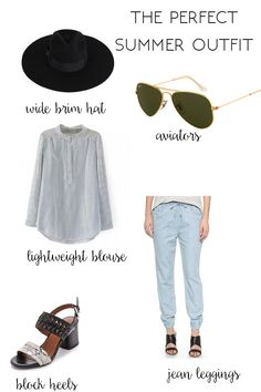 Perfect Summer Outfit, joggers, block heels, striped blouse, aviators, wide brim hat