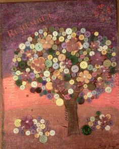 My button tree - inspired by the button tree paintings by Monica Furlow - Carla Bange canvas