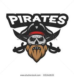Captain Pirate Skull and crossed sabers badge, logo, emblem.