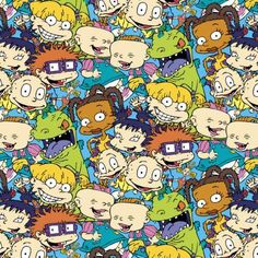 Cartoon Fabric - Nickelodeon Rugrats Packed Characters by Springs Creative cotton fabric wide Nickelodeon Cartoons, Rugrats, Cool Wallpaper, Wallpaper Backgrounds, Desenhos Cartoon Network, Cartoon Wallpaper Iphone, Cartoon Profile Pictures, Grunge, Cotton Quilting Fabric