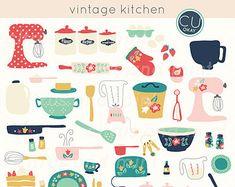 Vintage Kitchen Digital Clip Art - 36 Hand-Drawn Illustrations- Commercial Use - instant download