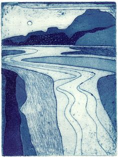 This artist has perfectly captured a natural space. Welsh Estuary II by John Brunsdon - masterful control of line, space and a beautiful balance of tone. Despite its simplicity, this is a really great print. Abstract Landscape, Landscape Paintings, Collagraph Printmaking, Ligne Claire, Art Textile, Woodblock Print, Illustration Art, Illustrations, Botanical Illustration