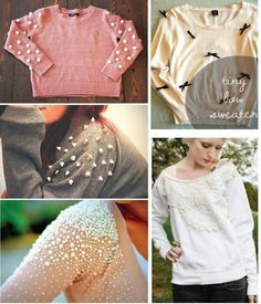 This is what I do to all my boring clothes! Tops Diy, Diy Top, Fashion Details, Diy Fashion, Fashion Design, Fashion Ideas, Diy Clothing, Sewing Clothes, Umgestaltete Shirts