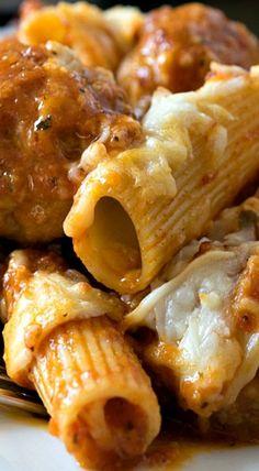 Three-Cheese Baked Ziti with Meatballs and Sausage Baked Ziti With Meatballs, Baked Ziti With Sausage, Baked Rigatoni, Potluck Recipes, Fall Recipes, Wine Recipes, Cooking Recipes, Pasta Recipes, Yummy Recipes