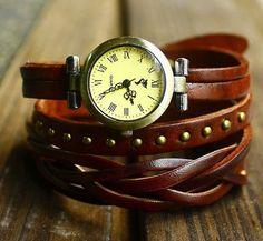 Vintage Style Chocolate Leather Bracelet  Wrap Watch, Rivet Bracelet Watch Handmade Women's Watch, Everyday Bracelet  PB012 $15