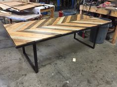 Bon Chevron Table Top With Distressed Metal Base, By Ross Rustic Tables.  Www.rosstables