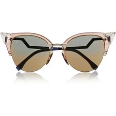 Fendi Crystal-embellished cat eye Optyl sunglasses (515 BAM) ❤ liked on Polyvore featuring accessories, eyewear, sunglasses, glasses, fendi, fendi eyewear, grey sunglasses, cateye sunglasses and retro cat eye glasses