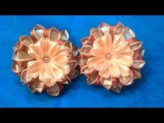 Цветок канзаши с комбинированными лепестками + школьный вариант. Канзаши /МК/Hand мade/DIY/ Kanzashi - YouTube