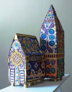 Fabric Cathedral (hand painted and embellished), inspired by the destroyed Canterbury Cathedral in Christchurch (New Zealand) after the earthquakes by Sarah-Alice Miles.