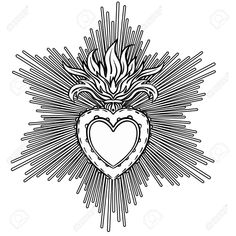 Sacred Heart of Jesus with rays. Vector illustration black isolated on white. Coloring book for adults. Catholic Art, Religious Art, Illustration Vector, Vector Art, Coeur Tattoo, Coloring Books, Coloring Pages, Sacred Heart Tattoos, Pattern Texture