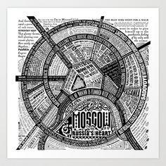Moscow Map Art Print by Ilya Merenzon - $15.60