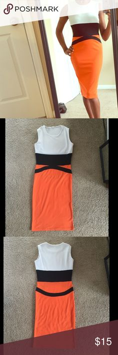 Stylish Dress This orange, black and white cute stylish dress is stretchy and comfy ready to hug your curves.  Great condition! Lucky Lady Dresses Midi