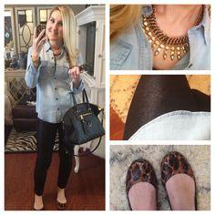 Denim Shirt + Leather Leggings + Leopard Flats