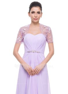 Short Sleeve Lace Special Occasion Wrap (013061867) - JJsHouse