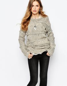 Image 1 of Pepe Jeans Fringe Knit With Long Sleeve