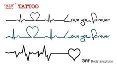 Etiquetas do tatuagem batimentos cardíacos sempreimpermeável