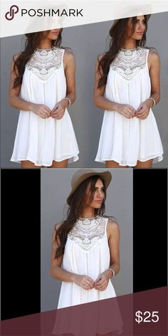 NWOT Woman's Mini White Summer Dress. NWOT White summer dress with a floral pattern. This dress is great for now and the upcoming Summer months. It is also a great value too. Please feel free to ask any questions. NO PAYPAL, TRADES OR OFFERS PLEASE. Thank you and God Bless You  Dresses Mini