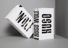 This set initially looks like a desk organizer. The word cut-outs allow the design of the DVD covers to create an additional design when inserted. The design changes when they are removed. The spine of each book is individual when on its own but when they are put back together, they spell out Hugo Wolf. The black and white color palette is applicable since this is about composers.