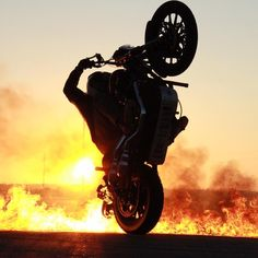 Mercenary Garage: Sportster Rob Carpenter wheelies on the surface of the sun, yesterday. Stunt Bike, Vans Girls, Instagram Images, Instagram Posts, Stunts, Monster Trucks, Fire, Bikers, Black And White
