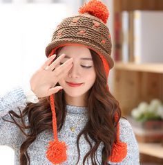 Sweet hairball knit hat for girls warm ear protection winter hats