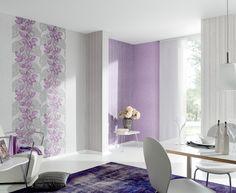 Florale Ranken in Violett zu klassischem Grau - P+S erzielt mit der dezenten Farbwahl eine beruhigende Wirkung. Kollektion: 'Sonnet'