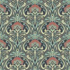 Peacock Green Retro Floral Wallpaper Art Deco Flora Nouveau by Crown Motifs Art Nouveau, Design Art Nouveau, Motif Art Deco, Art Nouveau Pattern, Paper Wallpaper, Retro Wallpaper, Wallpaper Samples, Wallpaper Roll, Hallway Wallpaper
