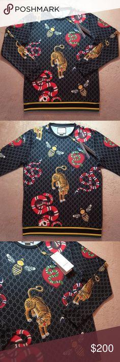 fff4d0217af Printed Cotton Sweatshirt Gucci Sweatshirt featuring several animal all  over sweatshirt bee