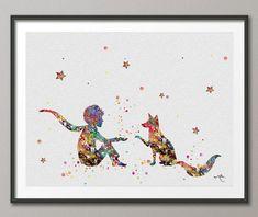 Le Petit Prince 3 Le Petit Prince avec des illustrations de Fox aquarelle Art impression Giclée mur décor Art Home Decor Tenture murale N° 1...