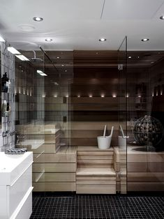 Bathroom Niche: Learn How To Choose And See Ideas With Photos - Home Fashion Trend Sauna Design, Küchen Design, House Design, Home Spa Room, Spa Rooms, Bathroom Interior, Modern Bathroom, Bathroom Ideas, Sauna Shower