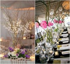 Branch Centerpieces {photo by: J.F. Floral Couture | photo on right by: Mary Basnight Photography}