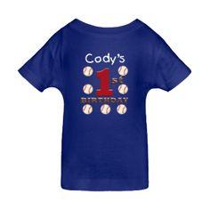Cody's - First Birthday Baseball Royal Blue Baby T-Shirt $14.99 CUSTOMIZE YOUR OWN CHILD'S BIRTHDAY T-SHIRT