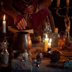 Herbs and potions, from Lizzie Siddal Medieval Witch, Medieval Fantasy, Medieval Books, Magick, Witchcraft, Hoodoo Spells, Season Of The Witch, Spell Caster, Witch Aesthetic