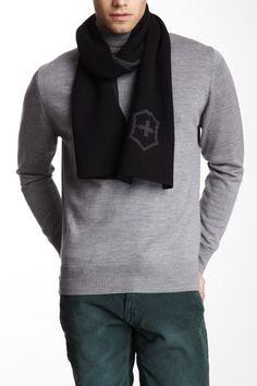 Victorinox Black Wool Blend Logo Intersia Scarf