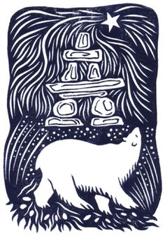 """Northern Lights"" by Celia Hart (linocut)"