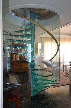 escalera de caracol (barandilla y peldaños de vidrio estructural) SKY-SCREW Siller Stairs