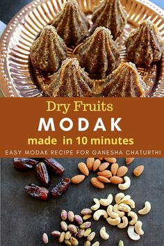 Dry fruits modak is a easy and healthy modak recipe which can be made for Ganesha Chaturthi. With just 4 ingredients it is one of the easiest modak recipes you will ever make. Sharing the easy modak recipe with step by step pics. This modak can also be made in to balls and enjoyed as a snack. #modak #dryfruitmodak #easymodakrecipes #ganesha #stepbystep Tasty Vegetarian Recipes, Healthy Breakfast Recipes, Snack Recipes, Dessert Recipes, Cooking Recipes, Snacks, Easy Recipes, Healthy Recipes, Modak Recipe