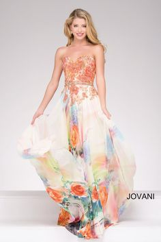 Jovani 47191 is a Sweetheart Neck Floral Print Long Prom Dress.