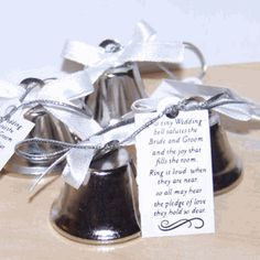 Searching For Silver Wedding Favors That Bring Music To Your Ears With These Kissing Bells Guests Can Ring In The Joy