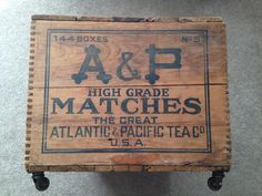 wooden crate in Antique Wooden Boxes Wooden Crate Boxes, Antique Wooden Boxes, Vintage Crates, Atlantic Pacific, Plywood Furniture, White Furniture, Primitive Antiques, Furniture Assembly, Shipping Boxes