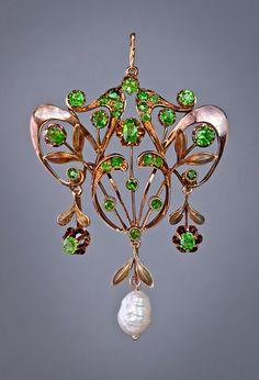 Art Nouveau Russian Demantoid & Baroque Pearl Pendant