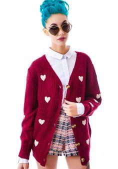 Moon Collection Sweet Hearts Cardigan - Dolls Kill
