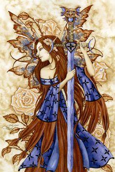 Amy Brown Print Fairy Faery Dragon Sword Pink Rose New Fantasy Wall Art Dragon Sword, Dragon Art, Elfen Fantasy, Fantasy Art, Magical Creatures, Fantasy Creatures, Samhain, Amy Brown Fairies, Kobold
