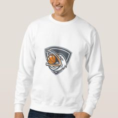 Pelican Basketball In Mouth Shield Retro Pullover Sweatshirt. Illustration of a head of a pelican bird with basketball in mouth looking up to the side set inside shield crest done in retro style. #Illustration #PelicanBasketballInMouth