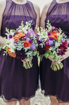 Beautiful jewel tone wedding bouquets