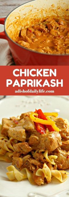 Chicken Paprikash...this creamy classic Hungarian stew recipe is both easy and delicious! Perfect comfort food dish for a weeknight dinner....my family LOVES this recipe