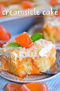 easy Orange Creamsicle Poke Cake is a wonderful addition to all your summer parties! A lovely vanilla cake that is bursting with orange flavor and topped with a fluffy orange and vanilla frosting that no one will be able to resist! // Mom On Timeout Cake Mix Recipes, Baking Recipes, Dessert Recipes, Summer Cake Recipes, Cupcakes, Cupcake Cakes, Vanilla Cake Mixes, Vanilla Frosting, Icing