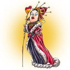 Queen of Hearts digi stamp in Digital images - Alice in Wonderland
